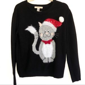 Love By Design Cat w/Sequins Christmas Sweater